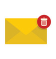 flat yellow mail letter icon vector image vector image