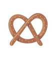 fresh baked brown pretzel cartoon flat food vector image