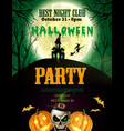halloween party flyer with pumpkins vector image