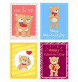 happy valentines day postcards with teddy bears vector image vector image
