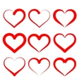 hearts set cartoon vector image