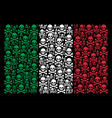 italy flag mosaic of death skull icons vector image