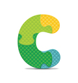 letter C written with alphabet puzzle vector image