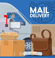 mail delivery service postman in car and parcels vector image
