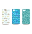 Mobile phone cover back set with sea life pattern vector image vector image