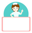 nurse explains and holds a blank white board vector image vector image
