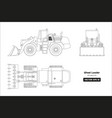 outline drawing of wheel loader vector image vector image