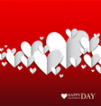 Paper hearts on the red background vector image vector image