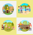 people on bbq party flat vector image