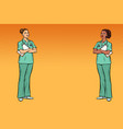 pop art multi ethnic group two nurses medicine vector image