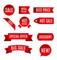 red ribbon sale banner vector image vector image