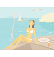 relaxing on a yacht vector image vector image