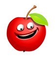 ripe apple fruit cartoon character vector image vector image