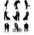 Romantic couples silhouettes vector image vector image