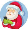 santa claus checking smartphone vector image vector image
