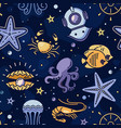 seamless marine pattern in thin line memphis style vector image vector image