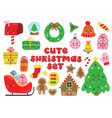 set isolated cute christmas elements vector image vector image