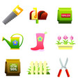 set of nine color icons - saw mailbox vector image