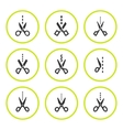 Set round icons of scissors with cut line vector image vector image
