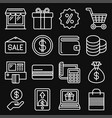 shopping icon set on black background line style vector image vector image