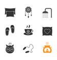 sleeping accessories glyph icons set vector image vector image