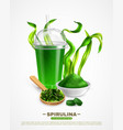 spirulina realistic background poster vector image vector image
