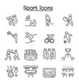 sport icons set in thin line style vector image
