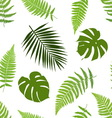 Tropical leaves seamless pattern vector image vector image