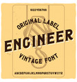 vintage label typeface named engineer vector image vector image