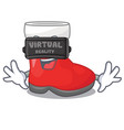 virtual reality santa boots are on character shelf vector image vector image