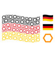 waving germany flag mosaic of contour hexagon vector image