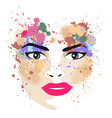 woman portrait in profile with stains vector image