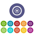 Gear wheel set icons vector image