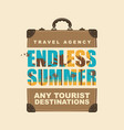 banner with travel suitcase and tropical landscape vector image vector image