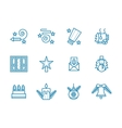Blue line icons for Christmas vector image vector image