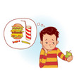 boy eats healthy green apple vector image vector image