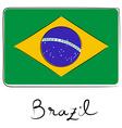 brazil flag doodle vector image
