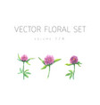 bright watercolor set of flowers with leaf vector image