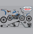 building motorcycle parts set vector image vector image