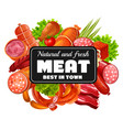butchery shop meat and sausages greenery vector image vector image