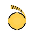 Caution striped tape warning icon vector image