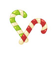christmas tasty sweet striped cane lollypops vector image