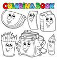 coloring book school cartoons 1 vector image