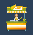 concept of street food trading vector image