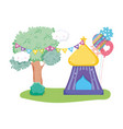 cute carnival kiosk with balloons helium vector image