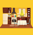 cute kitchen interior flat cartoon vector image vector image