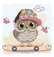 cute owl on a skateboard vector image vector image