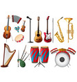 different types musical instruments vector image