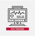 ecg tracing - line design single isolated icon vector image vector image