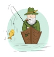 Fisherman in a boat with a fishing rod vector image